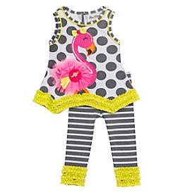 Rare Editions® Girls' 2T-4T 2-Piece Flamingo Top And Leggings Set