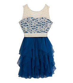 Rare Editions® Girls' 7-16 Illusion Neck Lace Mesh Dress