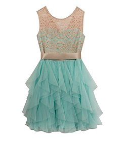 Rare Editions® Girls' 7-16 Lace To Mesh Cascade Dress