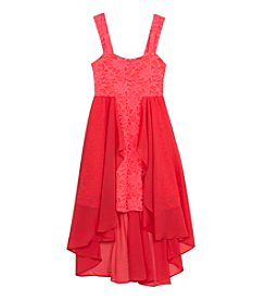 Rare Editions® Girls' 7-16 Lace With Chiffon High-Low Dress