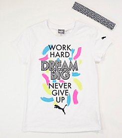 PUMA® Girls' 7-16 Work Hard Dream Big Tee