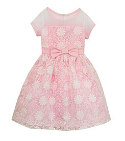 Rare Editions® Girls' 2T-6X Illusion Neckline Embroidered Dress