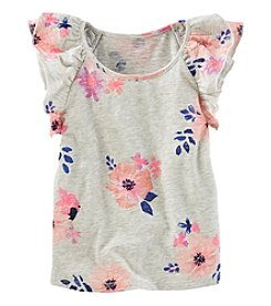 OshKosh B'Gosh® Girls' 2T-8 Floral Flutter Sleeve Top
