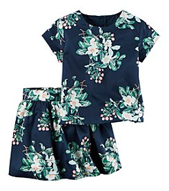 Carter's® Girls' 2T-8 2-Piece Floral Short Sleeve Top And Skirt Set