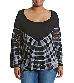 Jessica Simpson Plus Size Tie Dye Peasant Top