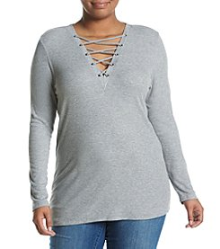 Jessica Simpson Plus Size Laced V-Neck Top