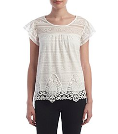 Sequin Hearts® Lace Crochet Trim Top
