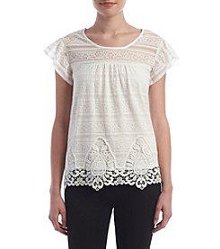 Sequin Hearts® Lace Crochet Trim Top