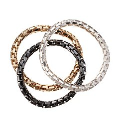 Relativity® Silvertone, Goldtone And Hematite Tone Mesh Bracelet Set
