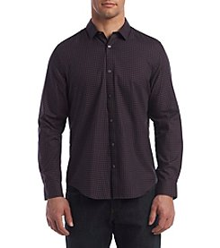 Calvin Klein Men's Long Sleeve Herringbone Small Check Button Down Shirt