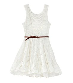 Beautees Girls' 7-16 Lace Fit And Flare 2-Piece Dress