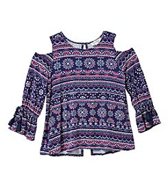 Jessica Simpson Girls' 7-16 Printed Cold Shoulder Tee