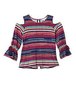 Jessica Simpson Girls' 7-16 Striped Cold Shoulder Top