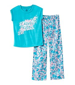 Calvin Klein Girls' 2-Piece Sleep Top And Pants Set
