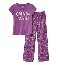 Calvin Klein Girls' 2-Piece Logo Top And Pants Set