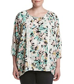 Relativity® Plus Size Lace Insert Peasant Top