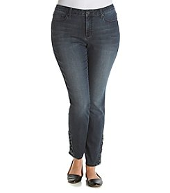 Earl Jean® Plus Size Skinny Denim With Lace Up Ankle Trim