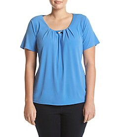 Studio Works® Plus Size Pleat Neck Tee