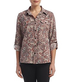 Studio Works® Petites' Roll Sleeve Blouse