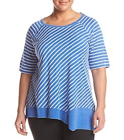 Calvin Klein Performance Plus Size Stripe Asymmetrical Tunic