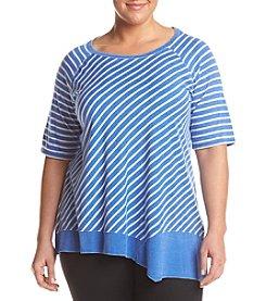 Calvin Klein Performance Plus Size Stripe Asymmetrical Tunic