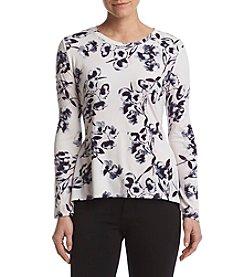 Ivanka Trump® Floral Angled Hem Knit Top