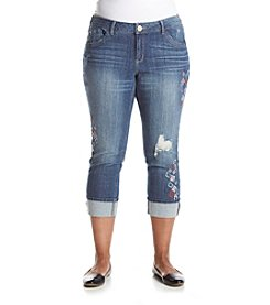 Democracy Plus Size Patchwork Destructed Crop Jeans