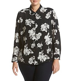 Ruff Hewn GREY Plus Size Printed Front Button Blouse