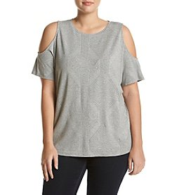 Ruff Hewn GREY Plus Size Cold Shoulder Knit Top