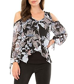 A. Byer Floral Cold-Shoulder Top