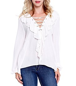 Skylar & Jade™ Ruffle Lace-Up Blouse