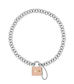 Michael Kors® Tri-Tone Chain Link Padlock Necklace