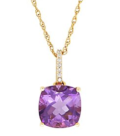14K Yellow Gold Amethyst Pendant Necklace with 0.03 ct. t.w. Diamond Accents