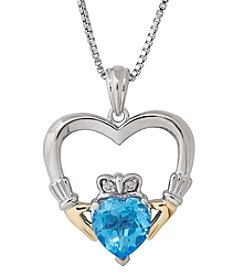 Swiss Blue Topaz Claddagh Pendant Necklace in Sterling Silver/14K Yellow Gold
