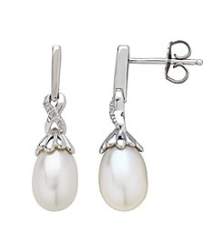 Sterling Silver Freshwater Pearl Drop Earrings with 0.018 ct. t.w. Diamond Accents
