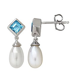 Sterling Silver Freshwater Pearl and Swiss Blue Topaz Drop Earrings