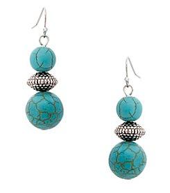 Erica Lyons® Turquoise And Howlite Bead Drop Earrings