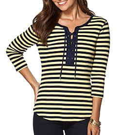 Chaps® Three Quarter Sleeve Stripe Knit Top