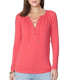 Chaps® Lace Up Jersey Tee