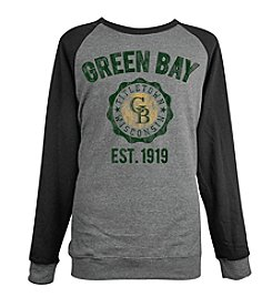Brew City Brand Men's Long Sleeve Green Bay College Seal Raglan Fleece Tee