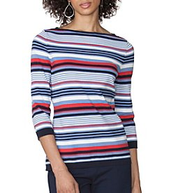 Chaps® Striped Cotton-Blend Sweater