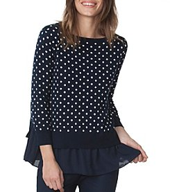 Chaps® Polka-Dot Layered Sweater
