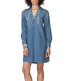 Chaps® Lace-Up Denim Shirtdress