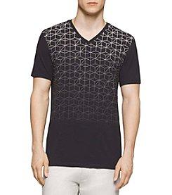 Calvin Klein Men's Short Sleeve Allover Print V-Neck Tee