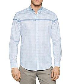 Calvin Klein Men's Long Sleeve Engineered Stripe Button Down Shirt