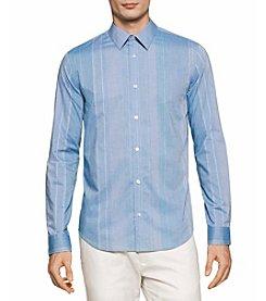 Calvin Klein Men's Long Sleeve Uneven Wide Stripes Button Down Shirt