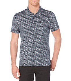 Perry Ellis® Men's Short Sleeve Textured Floral Printed Polo