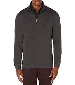 Perry Ellis® Men's Textured Pique Quarter Zip Sweater