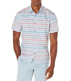 Perry Ellis® Men's Short Sleeve Plaid Jacquard Skyscrape Button Down Shirt