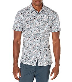 Perry Ellis® Men's Short Sleeve Painted Flowers Button Down Shirt